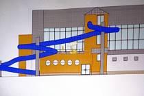 Takto by podle studie měla vypadat nová část krytého bazénu v Mohelnici se sto metrů dlouhým tobogánem.