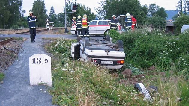 Temeničtí hasiči zajišťovali také technickou pomoc při havárii na železničním přejezdu v Šumperku směrem na Krásné