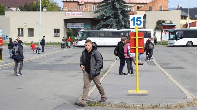 Autobusové nádraží v Šumperku v roce 2018