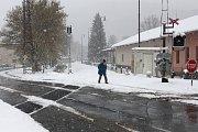 Sněžení 19. dubna 2017 v Hanušovicích.