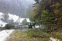 Jindřichovští hasiči během zásahu po říjnové sněhové kalamitě