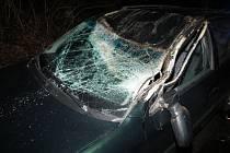 Nehoda auta kvůli spadlému stromy u malé Moravy na Hanušovicku