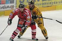 Chrudim byla v uplynulé sezoně soupeřem Draků v 1. lize, ve žlutém brání Drak Radek Ondráček