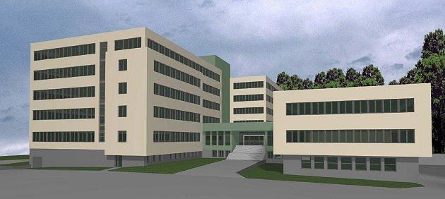 Vizualizace opravené budovy Pentagonu vJeseníku.
