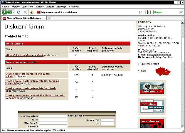 Diskusní fórum na stránkách Mohelnice