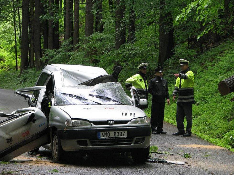 Zdemolované auto, na které spadl strom. V bílém pytli je zabalena žena, která ve vozidle zemřela