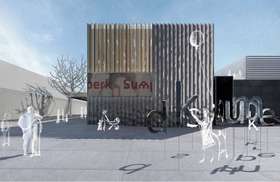 Budoucí kulturního domu v Šumperku, pohled z Fialovy ulice.