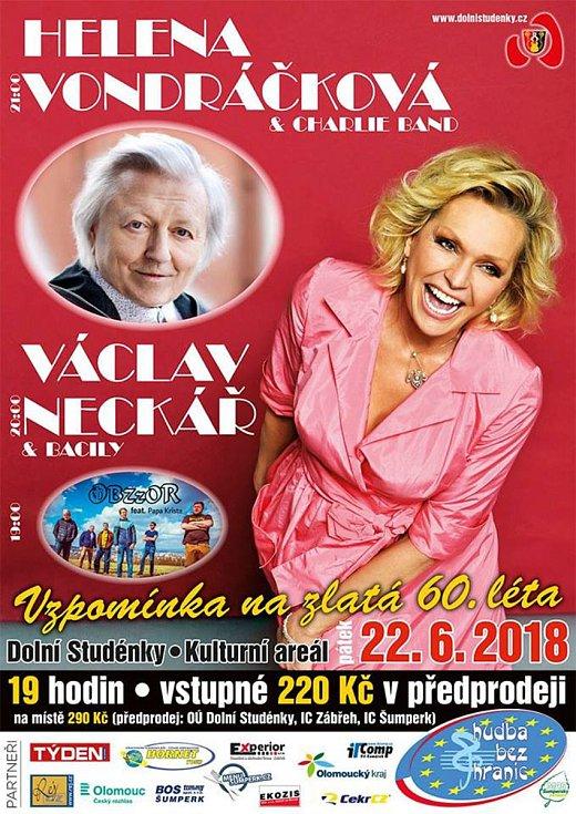 Plakát, který lákal na vystoupení Heleny Vondráčkové a Václava Neckáře na festivalu v Dolních Studénkách.
