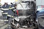 Požár auta ve Skorošicích