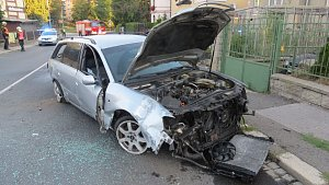 Nehoda audi v ulici K. H. Máchy v Šumperku