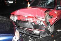 Důsledky nehody na Šumavské ulici v Šumperku