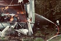 Požár haly se senem v Mikulovicích.