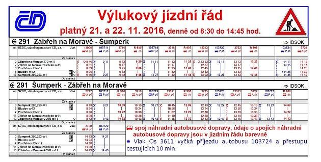 Výlukový jízdní řád pro trať ze Zábřehu do Šumperku, který platí vpondělí 21.a vúterý 22.listopadu vždy od 8.30do 14.45hodin