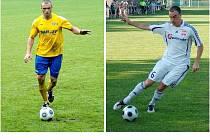 Derby mezi Mohelnicí a Šumperkem bude také soubojem útočníků: vlevo je šumperský Lubomír Pinkava, vpravo mohelnický Aleš Masopust