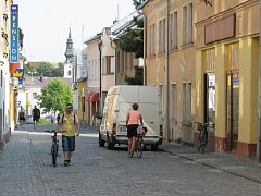 Smetanova ulice v Mohelnici, vedoucí od radnice na náměstí Tyrše a Fügnera.