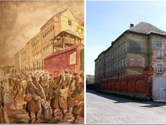 Budova vidnavského semináře na historickém snímku (vlevo) a současný stav budovy.