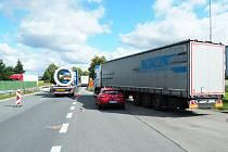 Nehoda u čerpací stanice v Mohelnici, 7. 7. 2020