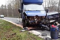 Dopravní nehoda mezi Kláštercem a Chromčí na Šumpersku