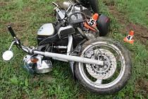 Havárie motocyklu v sobotu 27. dubna u Malé Moravy.