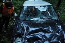 Nehoda mini cooperu u Kopřivné - 4. 8. 2020