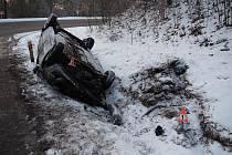 Bouračka mladé řidičky u Bušína - 28. 1. 2020