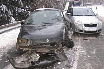Snímky z dopravní nehody u Kopřivné