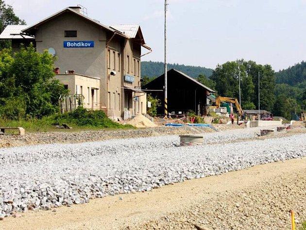 Bohdíkov, červenec 2016. Rekonstrukce trati Bludov - Jeseník