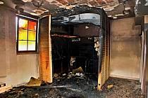 Vyhořelá sauna v Žulové.