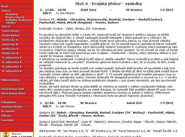 Reportáž na webu SK Hranice