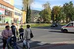 Křižovatka u hotelu Praděd v Jeseníku.