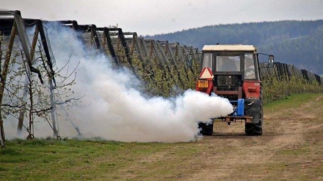 Ovocnáři bojují s mrazem pomocí zadýmení.