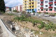 Rekonstrukce sídliště 9. května v Jeseníku dne v polovině července 2017
