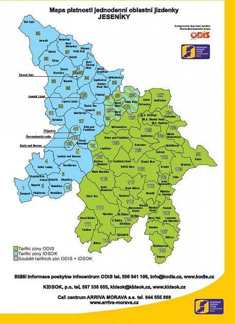 Mapa zón, ve kterých platí jednodenní oblastní jízdenka Jeseníky. Oblast zahrnuje celé Jesenicko, údolí Desné a Merty na Šumpersku a větší část Bruntálska svýjimkou Osoblažska.