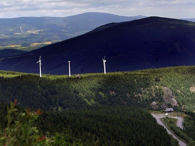 Větrné elektrárny v Jeseníkách. Ilustrační foto