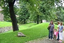 Vodní příkop u tvrze, kde sídlí Vlastivědné muzeum Jesenicka