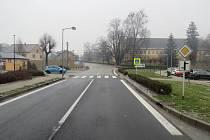Místo dopravní nehody v Bludově