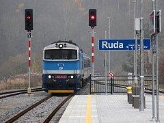 Rekonstruovaná stanice v Rudě nad Moravou.