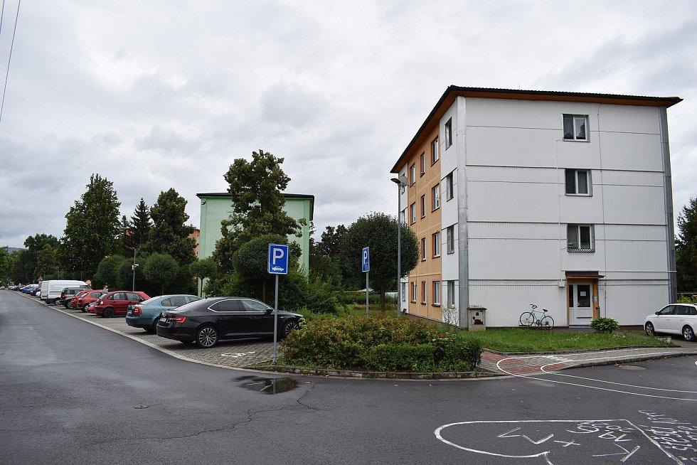 Postřelmov - sídliště v ulici Nová.