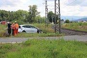 Nehoda na železničním přejezdu k čistírně odpadních vod v Šumperku v pondělí 15. července 2019.