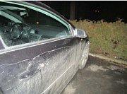 Poničené auto v Zábřehu