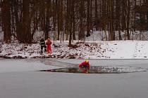 Hasiči ze Zábřehu cvičili záchranu tonoucího ze zamrzlé vodní nádže Nemilský Bagr.