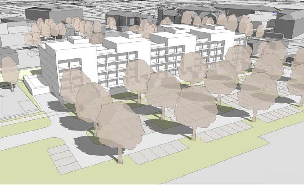 Nová podoba území bývalé Hedvy, jak ji pro město Šumperk navrhla architektonická kancelář Knesl Kynčl. Pohled od ulice Jesenická.
