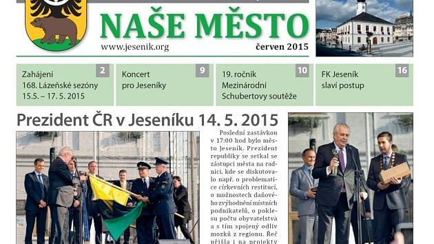 Náhled titulní strany červnového čísla časopisu Naše město, který vydává město Jeseník.