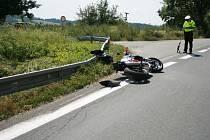 Nehoda motocyklu na Bludovském kopci.