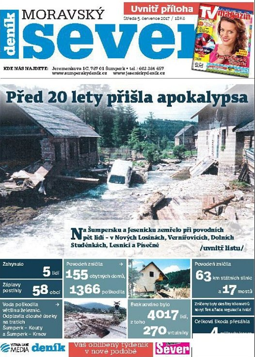 Týdeník Moravský sever - speciál ke 20 letům od povodní 1997.