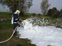 Vidnavský dobrovolný hasič při zásahu