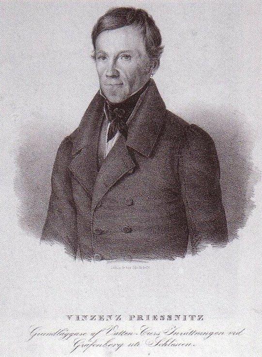 Vincenz Priessnitz, zakladatel vodoléčby a jesenických lázní, na dobové litografii.