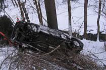 Pod svahem skončila jízda dvacetiletého mladíka nedaleko Kopřivné