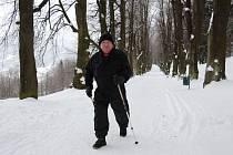 Kolonáda v Priessnitzových lázních v zimě.