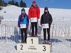 Vyhlášení vítězů MČR ve sprintu kategorie juniorky, zleva Kateřina Argalášová (Třinec), Hana Horvátová (Severka Šumperk), Jana Tesařová (Třinec).